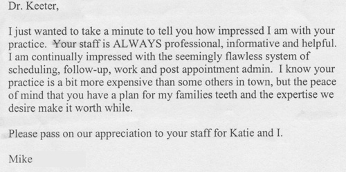 Dr Keeter - Dallas Dentist Rave Reviews